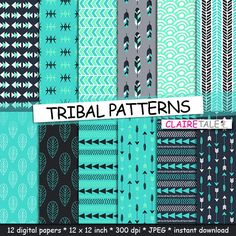 "Buy Tribal digital paper: ""TRIBAL PATTERNS"" with tribal patterns and tribal backgrounds, arrows, feathers, leaves, chevron in blue and turquoise by clairetale. Explore more products on http://clairetale.etsy.com"