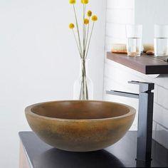 Small Sardis Round Cast Concrete Vessel Sink - Vintage Brown – Magnus Home Products Bathroom Sink Bowls, Concrete Bathroom, Cement Crafts, Pedestal Sink, Bathroom Layout, Diy On A Budget, Bathroom Inspiration, Kitchen And Bath, Decorative Bowls
