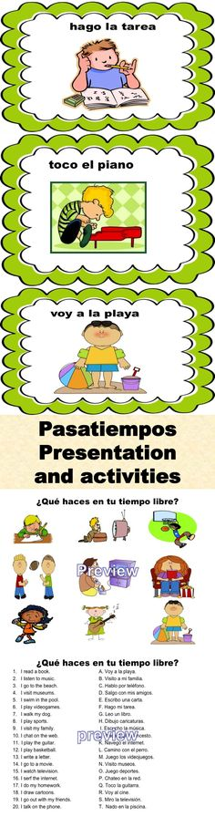 Spanish Pasatiempos Presentation and Student Activities Bundle.
