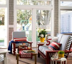 Red, White, and Blue Sun Room » Talk of the House