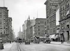 """New York circa 1912. """"Fifth Avenue near 42nd Street."""" Among the many establishments making this their address is the curiously named Bureau of Social Requirements. 8x10 glass negative, Detroit Publishing Co."""