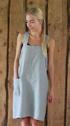 Linen Pinafore Apron / cross over apron / Japanese style Apron