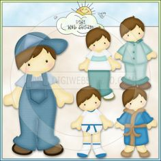 doll clip art | Paper Doll Boys 2 - Non-Exclusive Kristi Dailey Clip Art : Digi Web ...