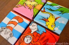Dr. Seuss Wall Art - Amanda if you could get these bags you could make some awesome stuff for Roddy :-)