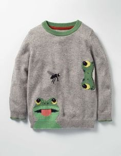 Wild Crew Grey Marl Frog Boys a day of wild and weve got the cosy for you. This soft and fun and with or cool And its so you can wear it on all your adventures. Summer Knitting, Baby Knitting, Animal Sweater, John Boy, Pull Bebe, Jumper Outfit, Boys Sweaters, Summer Boy, Little Girls