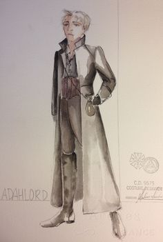James and the Giant Peach (Adahlord). Costume design by Melissa Torchia. I like the flipped up collar and sharp angles on long coat for Ladahlord. And boots good idea