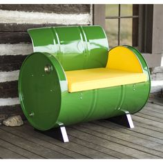 Drum Barrel Furniture This green drum barrel armchair is made from a recycled and repurposed steel drum. The metal is electrostatically sprayed using environmentally friendly powder coat with low VOC Barrel Furniture, Green Furniture, Barrel Chair, Diy Furniture, Skull Furniture, Garage Furniture, Furniture Dolly, Affordable Furniture, 55 Gallon Steel Drum