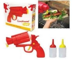 The ingenious plastic gun comes complete with two reusable cartridges that you can fill with the sauces or condiments of your choice. Load the filled cartridge into the chamber and get ready to fire on your favorite foods.