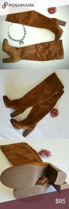 Over the Knee suede stacked heel boots Beautiful suede OTK boots. Take your vintage minis to the next level this fall ... Shoes Over the Knee Boots