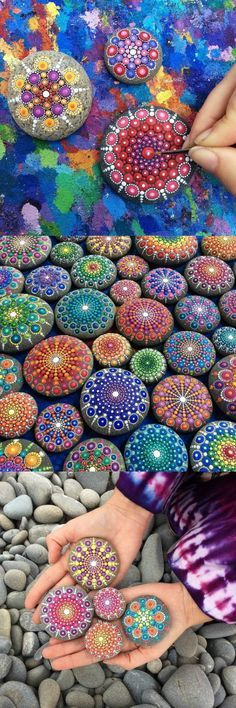 cria magníficas mandalas coloridas utilizando pedras do mar e muita criatividade Elspeth McLean ( McLean) paints ocean rocks with thousands of tiny dots.Elspeth McLean ( McLean) paints ocean rocks with thousands of tiny dots. Rock Crafts, Diy And Crafts, Arts And Crafts, Crafts With Rocks, Stone Painting, Diy Painting, Rock Painting, Painting Tutorials, Pebble Painting