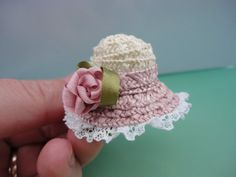 Woven miniature hat - bonnet with pink rose and lace. Strawberries and cream.