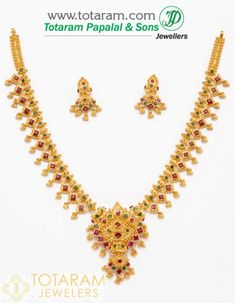 22K Gold Rubies & Emeralds Sets - Indian Gold Jewelry from Totaram Jewelers - Totaram.com Gold Wedding Jewelry, Gold Jewelry, Gold Necklace, Gold Earrings Designs, India Jewelry, Jewelry Trends, Sterling Silver Rings, Emeralds, Work Blouse