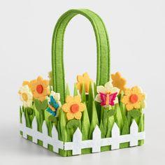 World Market Small Grass Felt Easter Basket - Foam Crafts, Craft Stick Crafts, Diy Craft Projects, Paper Crafts, Making Easter Eggs, Easter Art, Spring Crafts, Holiday Crafts, Easter Bunny Decorations