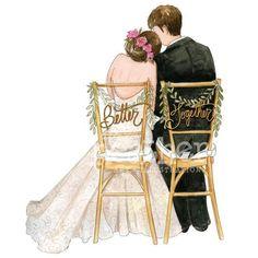 Bride and groom illustration bride and groom art print wedding Wedding Drawing, Wedding Art, Wedding Couples, Cute Couples, Wedding Ideas, Wedding Reception, Wedding Pictures, Wedding Details, Wedding Illustration