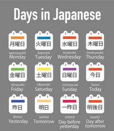 Days in Language will help you during the meeting with Japanese clients. Learn Japanese with Indias Top Japanese Language Nihonkai Call 9999 798 094 or visit Basic Japanese Words, Learn Basic Japanese, Day In Japanese, Japanese Phrases, Study Japanese, Japanese Symbol, Japanese Kanji, Japanese Culture, Learning Japanese