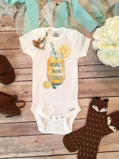 Lemonade Onesie®, Baby Shower Gift, Mama's Main Squeeze, Southern Baby, Funny Onesies, Cute Baby Onesies, Country Baby, Unisex Baby Clothes by BittyandBoho on Etsy https://www.etsy.com/listing/287536421/lemonade-onesie-baby-shower-gift-mamas