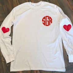 Valentines Day Shirt Valentines Day Monogram Tee Elbow Patch Monogrammed T-Shirt Long Sleeve Monogrammed T Shirt Long Sleeved Tee Tees & Things