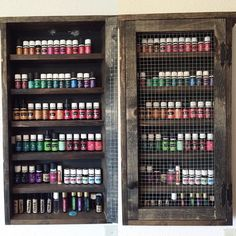 Large Rustic Oil Cabinet, Farmhouse, DoTerra, Young Living, Essential Oils, Shabby, Chic, Oils, Nail Polish,Oils Organizer, Fixer Upper