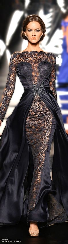 Black long sleeve lace evening gowns from the fashion runways. This elegant black design is beautiful. We love the satin fabric overlay for added drama. have a couture evening gown like this recreated for you but in your budget by our US dress design firm Style Haute Couture, Couture Fashion, Runway Fashion, Dress Fashion, Fashion Hair, Ladies Fashion, Trendy Fashion, Couture 2015, Style Fashion