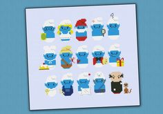 The Smurfs cross stitch pattern
