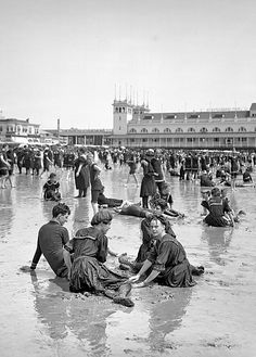 The Jersey Shore circa 1905. Atlantic City, on the beach.