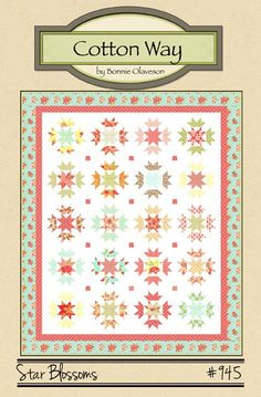 """PDF Pattern - 70"""" x 84"""" - Pieced star blocks with a contrasting star blossom. Layer cakes or 10"""" x 10"""" squares work well. Patte..."""