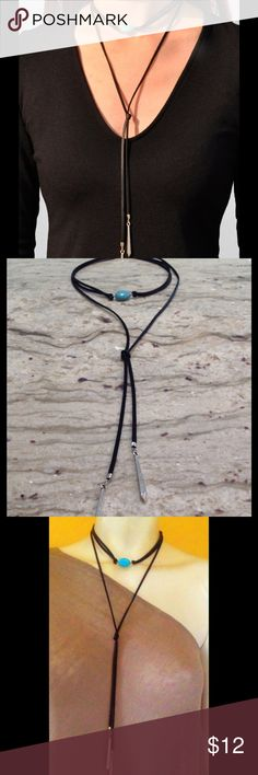 "Black double suede CHOKER necklace ❤️PRICE FIRM Black suede choker necklace with a turquoise bead centered on the choker with long suede laces. Silver endings. This necklace is amazing. Lobster clasp with an extension chain.  Total length of necklace is 19"". Actual double suede choker length is 7 inches with a 2 inch extender chain. If you need it longer I can put extra links on.  Price firm please unless bundled. On Merc for less as they do not take fees out.  Thanks a bunch it free people…"