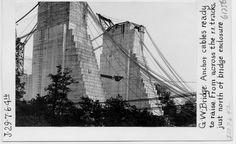 George Washington Bridge, anchor cables ready to raise.  Photograph ca. 1928-1930, by Ernest L. Scott.  George Washington Bridge Construction Photograph Collection, PR 137.  NYHS Image #61756.
