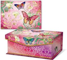 Butterfly Swirl Notecards in Keepsake Music Box - $24.99 - Useful notecards, and a gorgeous little box that plays music... what could be better? Colorful and cheerful!