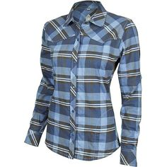 Club Ride Women's Juliet Flannel Shirt ($90) ❤ liked on Polyvore featuring tops, pacific plaid, blue flannel shirt, plaid top, tartan shirt, zip front shirt y blue plaid shirt