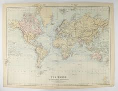 1889 vintage world map of the world office art gift for coworker old 1884 a c black world map mercator projection antique map of world old world decor gift for couple world traveler gift ocean currents gumiabroncs Gallery