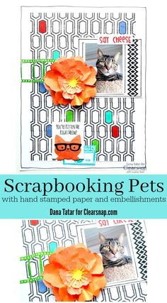 Dana Tatar shares her love for animals and her tips and tricks for creating hand-stamped patterned papers and embellishments for scrapbook layouts.