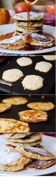 Apple cinnamon yogurt pancakes. Filled with shredded apples, spiced with cinnamon & vanilla - a true Fall treat! |