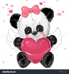 Little cute boy panda angel with big heart card for valentine's day. Kid Character, Heart Cards, Illustrations, Cute Art, Vector Art, Cute Girls, Minnie Mouse, Angels, Images