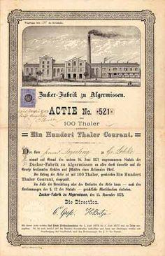 Zucker-Fabrik zu Algermissen / Namens-Actie 100 Thaler, Algermissen 15.11.1872 (Auflage 1500, R 12), ausgestellt auf Konrad Deyerling zu Gr. Lobke.