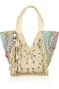 Antik Batik Nana fringed leather and woven cotton tote from Net-A-Porter