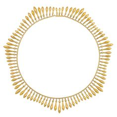 Antique Gold Fringe Necklace The delicate circle link chain continuously supporting a fringe of drop-shaped polished gold pendants, circa 1880.