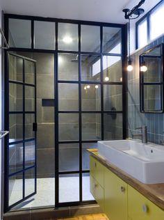 Guehne-Made - Kansas City | Home Remodeling | Home Styling | Custom Woodworks | Custom Furniture: New Bathroom Look | Black Framed Glass Shower Doors