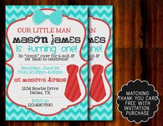 Tie and Bow Tie Birthday Invitation by APartyBoutique on Etsy, $12.00
