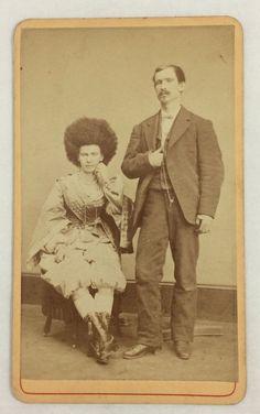 Circassian Beauty Performer & Carnival Circus Promoter (?) Antique CDV Photo