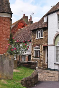 The corner leading round Church Square to West Street in Rye, East Sussex, England