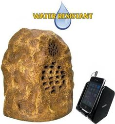 tic wrs010 allweather outdoor wireless rock speaker system canyon color with remote - Outdoor Rock Speakers