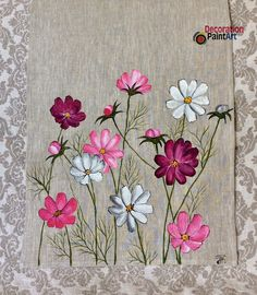 Hand-painted Cosmos Table Runner Rustic Cloth Decoration Holiday Decorations Centerpiece Art painting Burlap Linen Flowers mother's day gift – 2019 - Cotton Diy Hand Painted Dress, Painted Clothes, Embroidery Stitches, Embroidery Patterns, Hand Embroidery, Painting Burlap, Fabric Painting, Dress Painting, Painting Tips