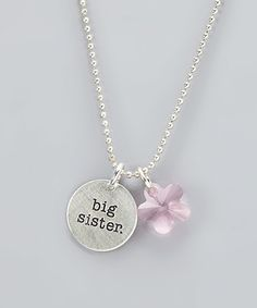 Love this Silver & Pink 'big sister' Pendant Necklace Made With SWAROVSKI ELEMENTS on #zulily! #zulilyfinds