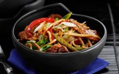 219 cals/6.5g fat per portionThis pork and vegetable stir-fry is not only easy, it?s good for you too. Taking just 15 mins to cook, it?s a quick idea for a lower-fat meal.