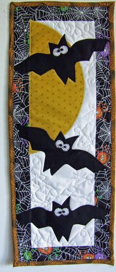 "Skinnies: Batty wall hanging pattern, 9 x 24"", by babs 'n' jas designs"