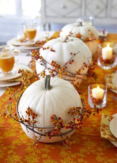 White Pumpkins | Autumn Table Decor | Thanksgiving Tablescape | Fall Decor | Holiday Ideas - minus the branches