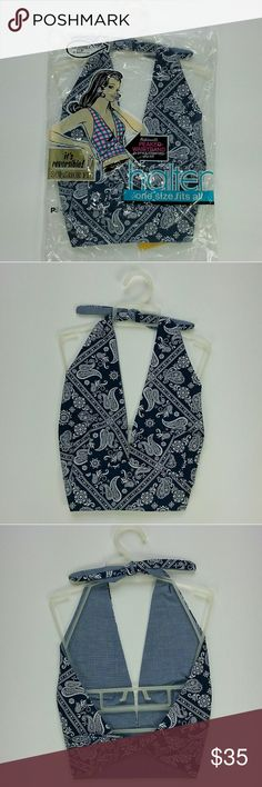 NWT 1970s Reversible Dark Blue Paisley Halter Top One size fits all - New Old Stock - by Paris Accessories - 5th Ave, New York   Super cute! Brand new old stock with packaging and tags. 50% / 50% Cotton Polyester blend halter top. Made in USA. Tagged one size fits all, but this would be best for approximate A, B to C cup, approximate size small to medium. Dark blue background, with white paisley print. It is reversible to a blue fabric that looks kind of like denim. Ties around the neck, and…