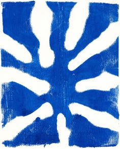 No.22 Cobalt Starburst, acrylic monoprint 2015