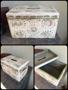 Antibes Green and Original Chalk Painted wooden box using Annie Sloan paint.